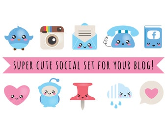 Blog Design Kit - vector files - blog social kit - blog buttons, web buttons - social media icons - kawaii - cute blog design elements
