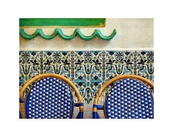 Decorative Tile Photo, Paris Cafe, Travel Photography, Cobalt Blue Chairs, Mint Green Wave, Paris Photography
