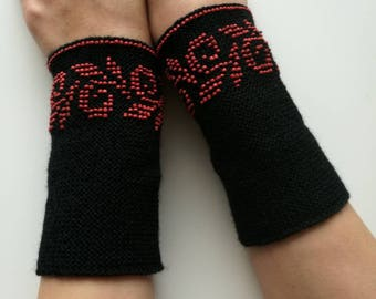Hand knitted black traditional Lithuanian beaded wrist warmers with red glass beads