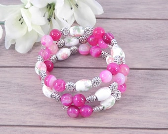 Pink Beaded Bracelet - Floral Bracelet - Womens Jewelry - Gift for Her - Gift Under 30