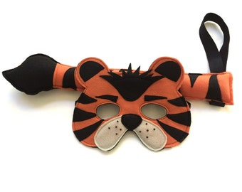 Children's Safari Jungle Animal TIGER Felt Mask and Tail Set