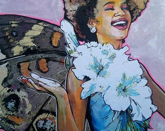 FAIRY Whitney Houston - framed original painting Butterfly Wings and Antlers