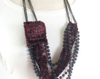 Statement fabric necklace - multi strand - textile  - beaded necklace - asymmetric necklace