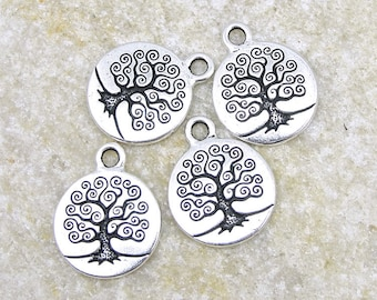 20 Tree of Life Charms - Antique Silver Tree Charms - TierraCast Pewter Silver Metal Beads - Woodland Bodhi Tree Drops (P783)