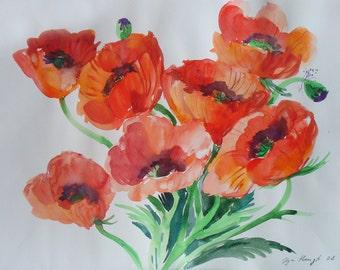 Original Watercolor POPPY Paintinting art nursery art classical painting 19 x 14 in  bright colors botanical illustration Art