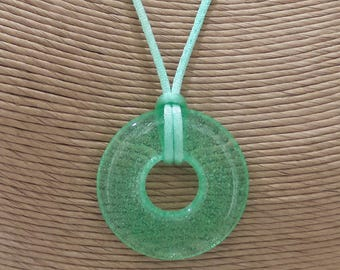 Green Glass Pendant, Round Necklace, Handmade Jewelry, Transparent Green Fused Glass Jewelry, Ready to Ship - Green Pasture --6