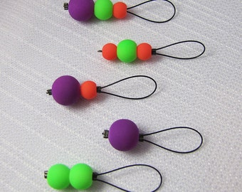 Neon Glow - Five Snagless Stitch Markers - Fits Up To 6 mm (10 US)