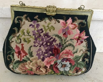 Vintage handbag made of hand embroidered tapestry, colourful flowers on black ground, brass bow & chain, 40s-50s