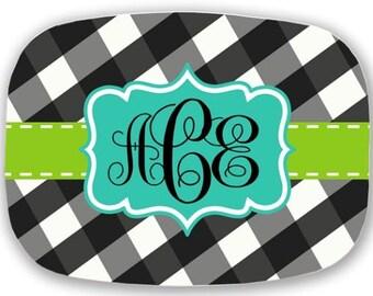 Personalized Melamine Platter, gingham platter, monogrammed platter, serving tray, serving platter, wedding gift platter