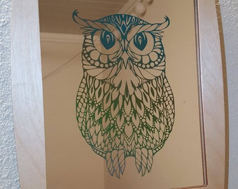 Etched Owl Mirror Wall Decor
