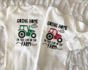 Going Home to take care of the farm bodysuit. little farmer. future farmer. baby farmer. tractor name shirt. coming home outfit.