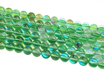 1Full Strand Green Mystic Aura Quartz Round Beads, 8mm 10mm Aura Quartz,Holographic Quartz For Jewelry Making