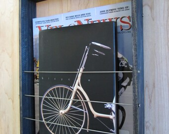 Wood Magazine Book Rack Wall Mount Bicycle Spokes & Chain Plates