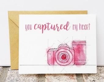 Camera Valentine's Day Card - You captured my heart - Photographer Valentine