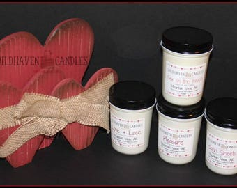 Hand poured 8 oz soy jar candles, eco-friendly, 100% soy, no dye