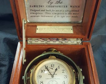 Hamilton Model 22 Mounted Chronometer w/Original Mahogany Box