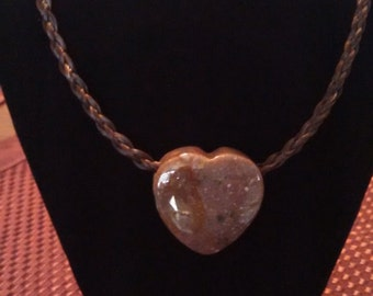 Hand Braided Horsehair Necklace with Natural Stone Heart Pendant