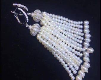 Long white freshwater pearl tassel earrings - Special Occasion Statement Earrings- Wedding Earrings- Mothers day gift