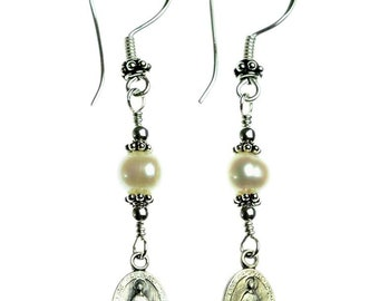 Sterling Silver Freshwater-Cultured Pearls with Miraculous Medal Earrings