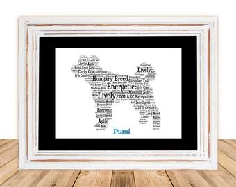 Pumi, Pumi Art Gifts Under 25, Pumi Pet Memorial, Custom, Personalize, Pet Gift, Gifts Under 25, Dog Art, Pet Art, Pet Memorial, Custom Dog