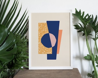 A4 Art Print • Illustration • Wall Art • Home Decor • Art Print • Mid Century Modern • Collage • Terrazzo • MAUNA 01