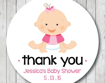 Girl Baby Shower Thank You Stickers or Tags