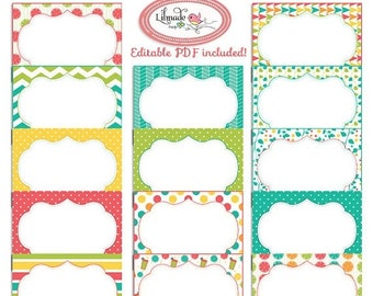 50%OFF Digital printable labels, digital printable cards, 3.5 x 2.5 inch cards, editable PDF cards and labels, candy buffet labels. Pr180