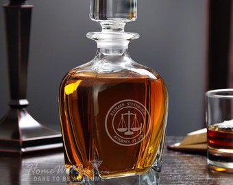 Personalized Whiskey Decanter - Scales of Justice Design - Perfect Retirement Gifts for Lawyers - Looks Great at Home or the Office