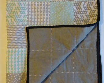 Patchwork Baby Blanket, Grey and Mint. Perfect for pram, cot or car seat