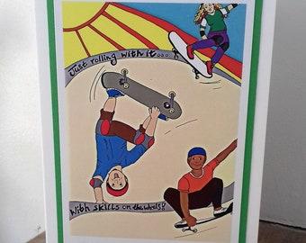 Skateboard/ skateboarding/ free ride/ blank greetings card. Skateboarding art/ print. Dorset Made design. Card for 16th/ 18th/ birthday...
