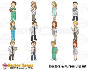 Doctors and Nurses Clip Art, Digital Clipart, Digital Graphics