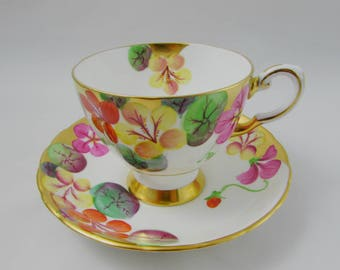 Vintage Tuscan Tea Cup and Saucer, Hand Painted Flowers and Heavy Gold Trimming, Fine English Bone China
