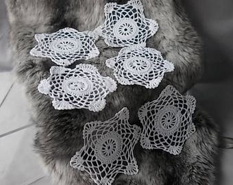 White Cotton Crochet Drinks Doilies, Boxed Set of 6, Home & Living, Made in Cyprus Island of Venus, Country Style Vintage Pretty Dollies.