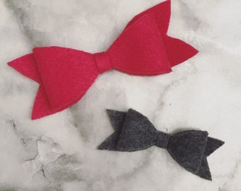 Set of 3 Felt Bow Clip with Combo