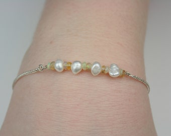 925 sterling silver bracelet with  Opal genuine  gemstone and Pearls.