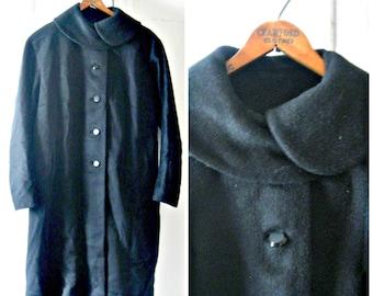 Jahrgang 1960 plus Größe schwarze Mohair Mantel / / große, Extra große 12 14 16 glamourösen Bubi Kragen midcentury retro formale 1960