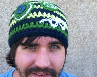 Adult Monster Hat - Navy, Lime, and Grass Green, Gift Beanie for Him, Geeky Stocking Cap for Men