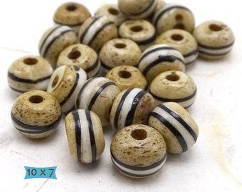Batik Bone Tibetan Cake Beads--10 Pcs. | 32-BN515-10