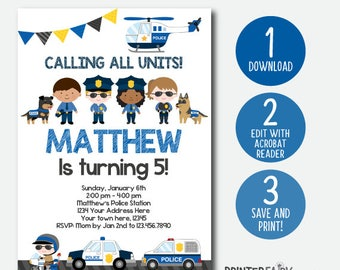 EDITABLE Police Invitation, Police Birthday Invitation, Police Birthday Party, Digital, Instant Download