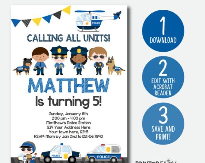 EDITABLE Police Invitation, Police Birthday Invitation, Police Birthday Party, Digital, Instant Download