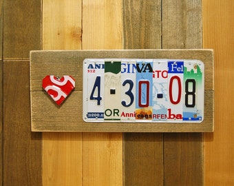 1st 5th 10th 15th 20th Wedding Anniversary Gifts for Men Him/Her License Plate Sign w/ Red Folded Heart Tin Aluminum Metal Anniversary Year