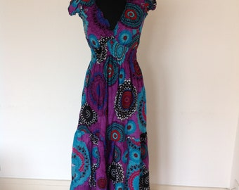 Turquoise & purple cap sleeve patterned dress, long summer dress, hippie dress, vacation wear, cotton beach dress.