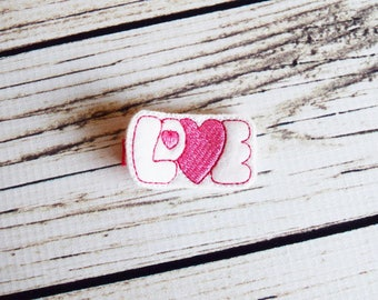 Handcrafted Valentines Love Feltie Clip - Pink and White Heart Hair Clip - Valentines Day Bow - Small Baby Hair Clip - Cute Toddler Bows