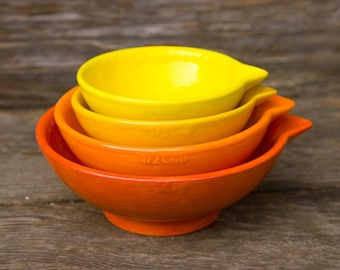 Measuring cups, Dark Orange Ombre' - dark to light- Dark orange to light yellow - ready to ship - hand painted