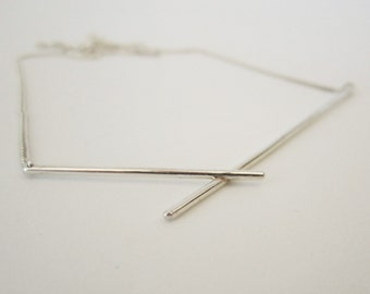 FRACTURE Silver necklace, minimalist necklace, line neklace 'Fracture'
