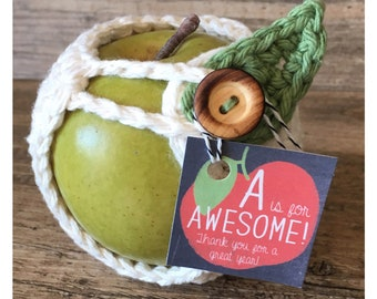 Pick Your Own - Apple Cozy - Teacher Gift - Cream - Navy - Blue - Green - Pink - Multiple