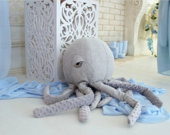 Decorative octopus pillow octopus decor octopus toy soft octopus plush octopus underwater ocean decor ocean nursery decor octopus theme