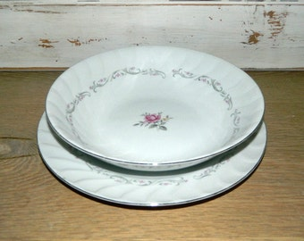 Royal Swirl - Fine China of Japan - Serving Bowl and Dinner Plate
