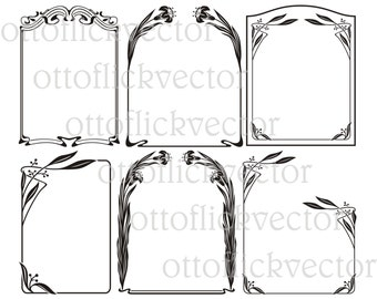 ART NUVEAU VECTOR frames eps, ai, cdr, png, jpg printable, cuttingable vector borders, art deco floral frame, iris frame digital clipart