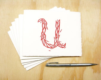 Letter U Stationery - Personalized Gift - Set of 6 Block Printed Cards